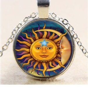 Celestial Sun & Moon Silver and Glass Necklace